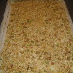 Phyllo dough and nuts layered