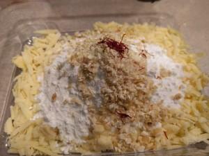 Khoa,Powdered sugar, chopped nuts with saffron milk